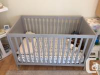 High End Milano Classic Crib in Elephant Gray color