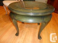 Round tables with etched glass tops - first measures 47
