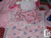Baby with blanket, pillow and diaper bag.....Your