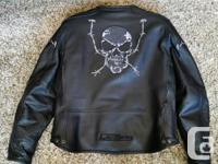 Leather motorcycle jackets, vented with liner, both