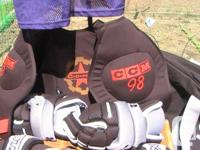 barely used large size Bauer helmet CCM shoulder & shin