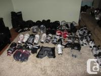 VARIOUS HOCKEY GEAR SHIN SHOULDER & ELBOW PADS, GLOVES,