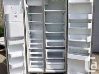 Side by side bottom freezer model with water and ice