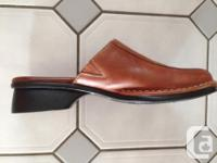 Slip on shoes size 8.5, genuine leather, tan brown, 1