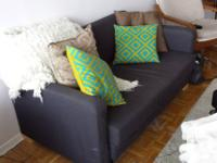 Purple sofa (folds out into a bed), chair and matching
