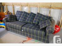 IKEA couch for sale, blue and green plaid with several