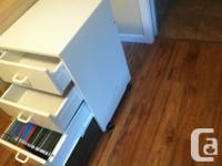 Ikea desk keyboard tray, drawer, shelf. Top hutch has