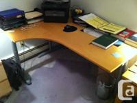 "For sale:   Ikea ""Galant"" corner-left desk (birch"