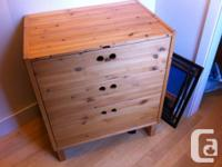 Ikea bed and Ikea dresser/change table: $70 each. Bed: