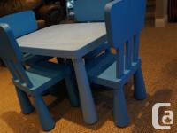 IKEA kids MAMMUT Table and 4 chairs - Blue Best table