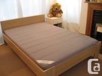 Ikea Queen Light Maple Finish Aneboda Full Bed.
