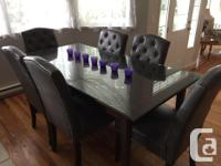 Solid wood Ikea table with thick bevelled glass