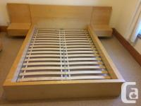 Light beech colour MFD Ikea bed frame with adjoining