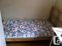 ikea single bed + mattress, like new $100   painting
