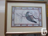 "Framed print of violets 15"" x 15"" $ 10. 2 mounted bird"