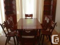Selling mid century furniture: dining table with 8