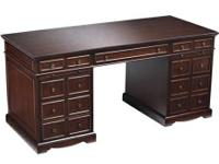 """This  cognac coloured desk is large at 65"""" x 28"""" and"""