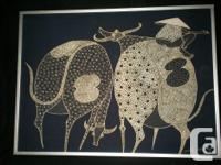 Framed batik 3 women with baskets $35 17x17 2 water