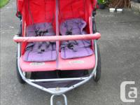 INSTEP DOUBLE WIDE JOGGING STROLLER. With locking front