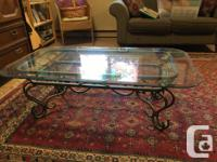Curved Iron and Glass coffee table in excellent