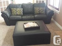 Black leather sofa, chair and recliner by Italsofa
