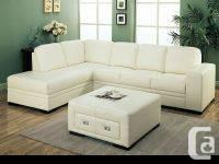 Ivory Bonded Leather / Match Sectional Sofa & Ottoman