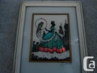 J. Jensen Foil Silhouette lady dressed in the 1800 and