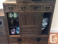 Four piece - double sided One square cabinet and stand,