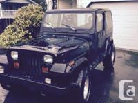Make. Jeep. Version. YJ. Year. 1989. Colour. Black. 89