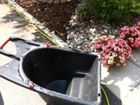 Poly tray gardening cart. Handy tool clips for carrying