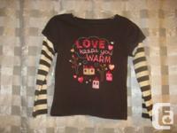 Joe Fresh 'Love Keeps You Warm'  Brown Long Sleeved Top