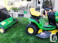 John Deere Lawn Tractor and Sweeper $1550.00 * John