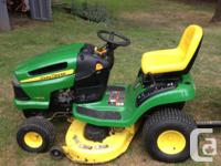 John Deere LA 110 Ride on. Trailer available as well.