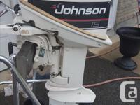 1986 JOHNSON 15 HP SHORT SHAFT MOTOR WITH GAS TANK JUST