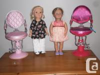 Our generation sitting pretty salon chairs.with 2 dolls