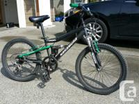 Kids full suspension 5 speed mountain bike for sale in