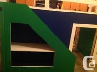 Newly built twin size kids loft bed with play area,