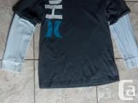 Boys Long Sleeve Gray Hurley T-shirt in terrific