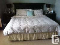 King mattress, box spring with metal frame and wood