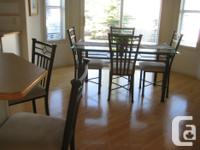 Beautiful kitchen/dining room set Glass table, 5' x 3'