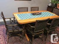 Kitchen table with 6 rattan chairs hand made in