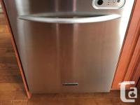 Stainless steel Kitchenaid dishwasher and gas range for