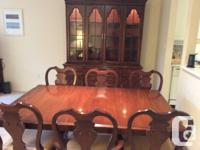 Knechtel Buffett, twin pedestal dining table with two