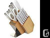 Kitchen Aid White Triple Rivet Knife Set  NEW!!
