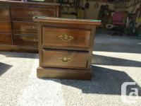 Solid wood bedroom set. Includes dresser, mirror, and