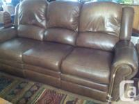 Dark Brown Leather La-Z-Boy Reclining Sofa and Chair