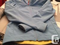 Gorgeous! Sky blue with gray/yellow zippered fleece.
