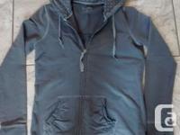 Ladies Gray Hoodie from Garage area Garments fit.