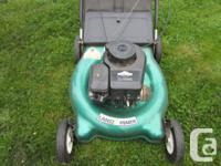 Landmark rear bag lawn mower. Brigg & Stratton 3.5hp