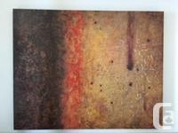 """Large rich brown, red and gold abstract print 50"""" x40""""."""